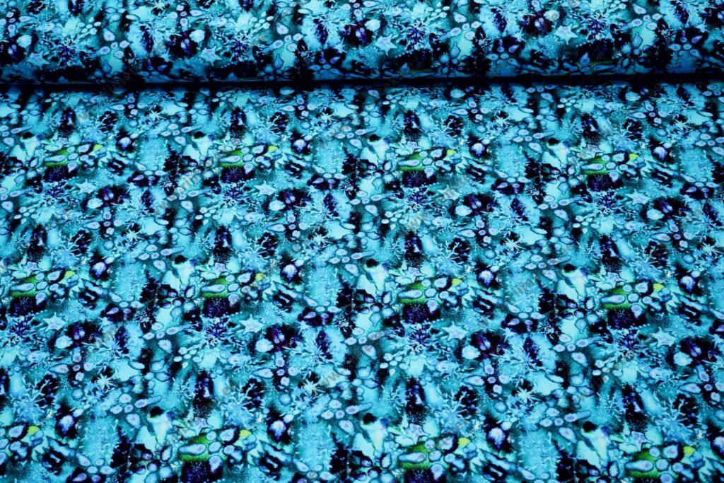 Bambusviskoosist trikotaaž, türkiis-lilla akvarell, Single Jersey