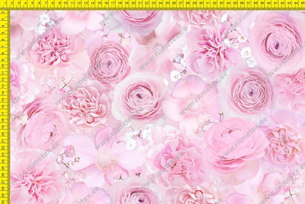 Õhuke dressikangas (French Terry), roosad lilleõied