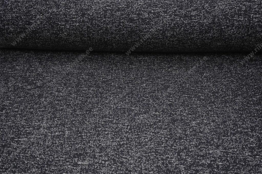 Meriinovillane trikotaaž (Single Jersey) must-valge säbruline