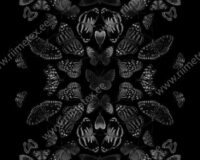 Must-valged liblikad, paneel, õhem dressikangas /French Terry/