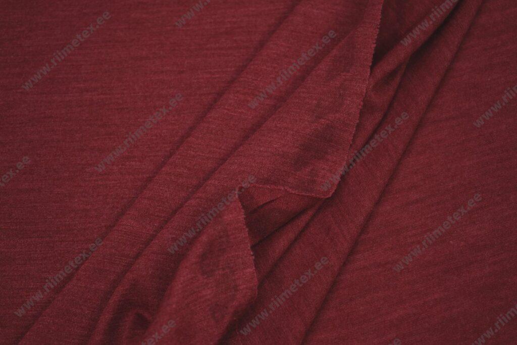 Meriinovilla-siidisegu trikotaaž, bordoo (Single Jersey)