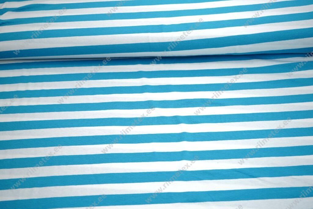 Triibuline aquasinine/ valge triip, ca 2cm Single Jersey