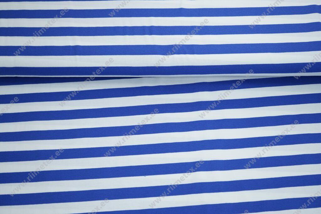 Triibuline, koobaltsinine/ valge triip, ca 2cm Single Jersey