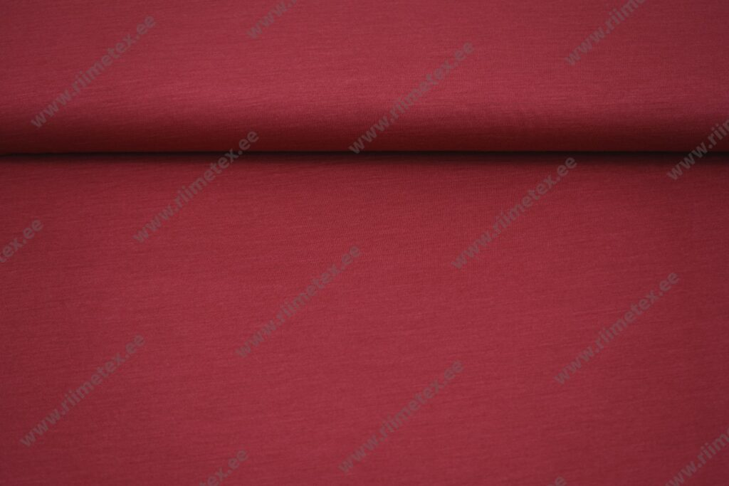 Meriinovilla-siidisegu trikotaaž, tumepunane (Single Jersey)