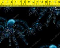 Sinised tarantlid mustal, õhem trikotaaž /Single Jersey/ 0,66m/tk