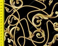 """""""Kuldsete"""" ornamentidega must, õhem trikotaaž /Single Jersey/"""