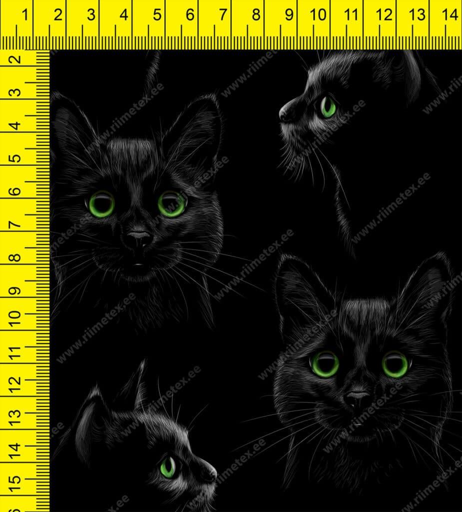 Mustad kassid mustal, õhem trikotaaž /Single Jersey/