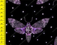 Lillad ööliblikad mustal, õhem trikotaaž /Single Jersey/