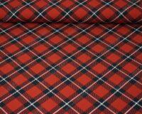 Ruuduline, tuhm punane/must, õhem trikotaaž /Single Jersey/