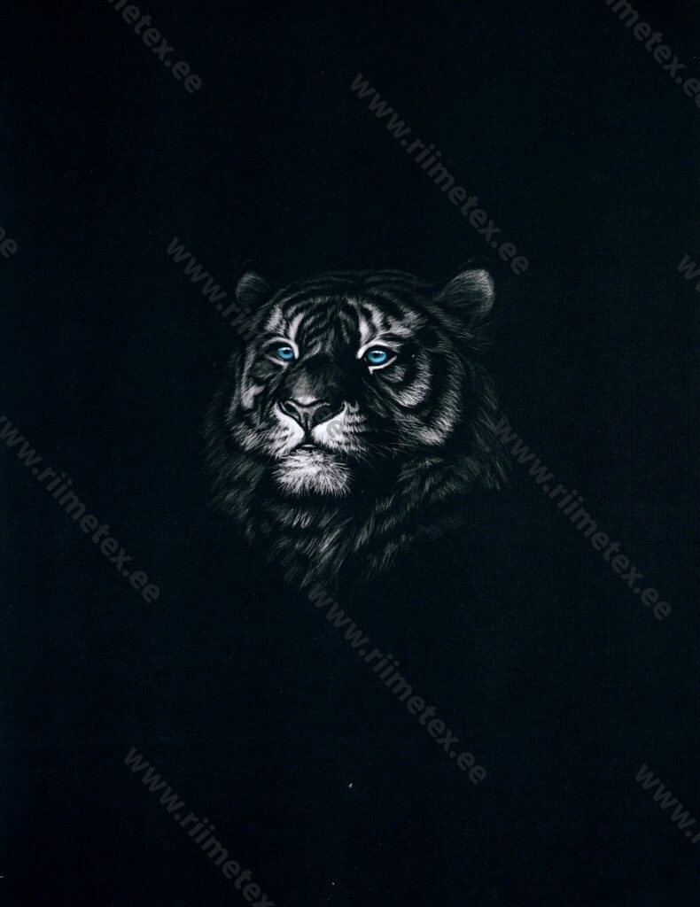 Õhuke dressikangas/ French Terry paneel tiiger mustal