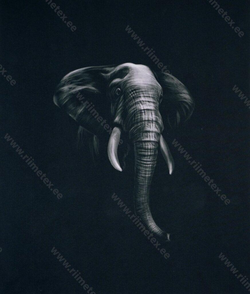 Õhuke dressikangas/ French Terry paneel elevant mustal