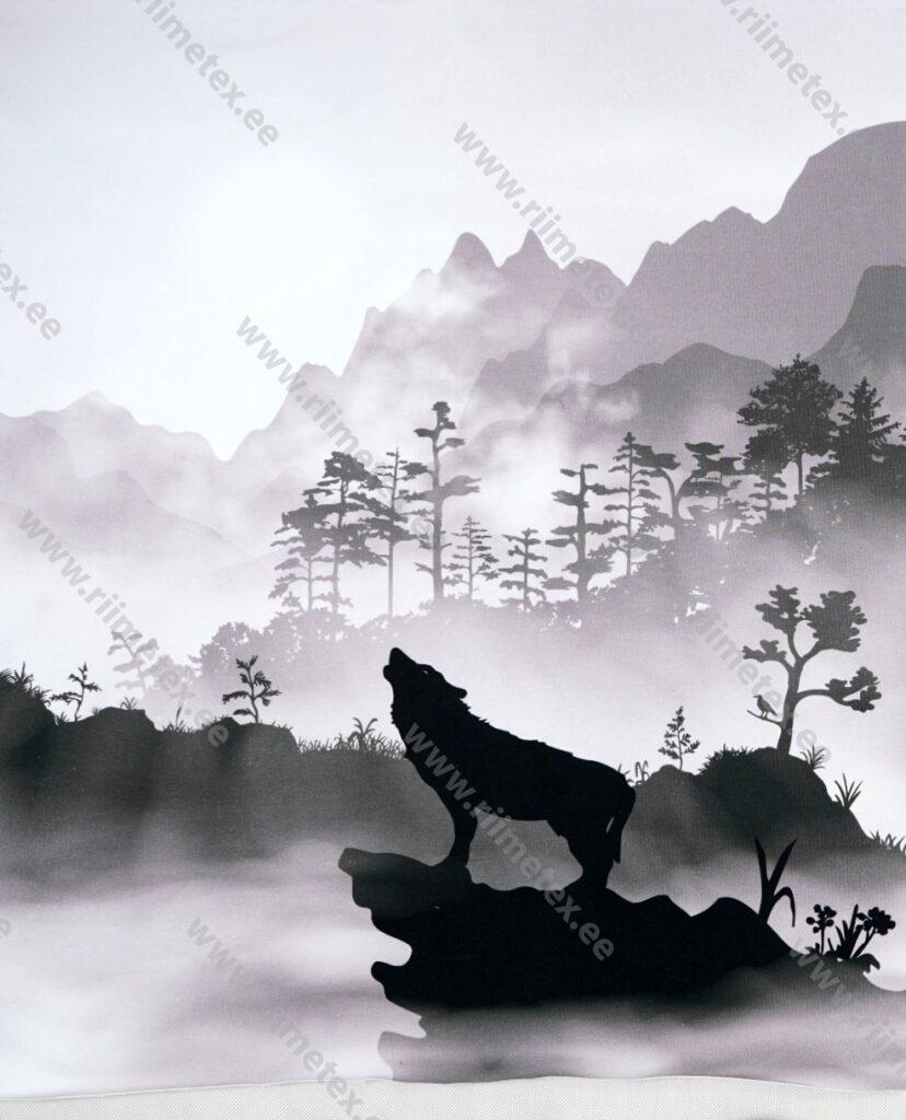 Õhuke dressikangas/ French Terry paneel ulguv hunt, hele