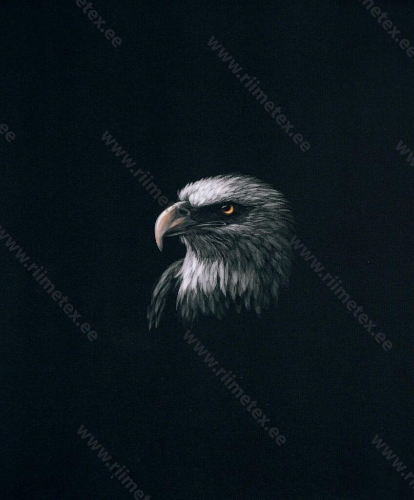 Õhuke dressikangas/ French Terry paneel kotkas mustal