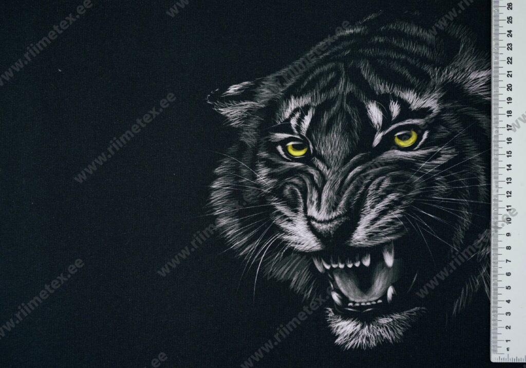 Õhuke dressikangas/ French Terry paneel möirgav tiiger mustal
