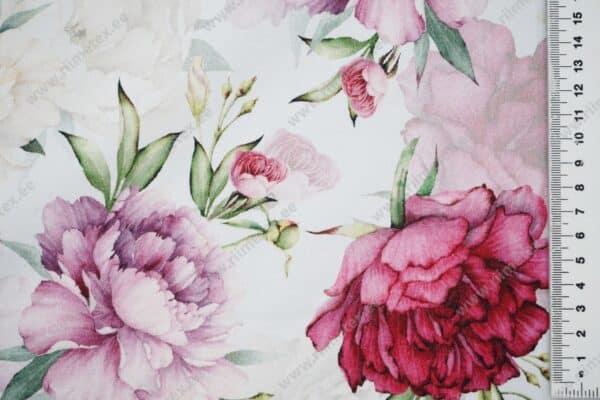 Romantiline roosi/pojengimuster helehallil taustal, Single Jersey