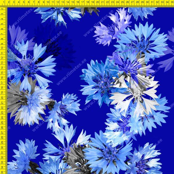 Suured rukkililled sinisel õhem trikotaaž