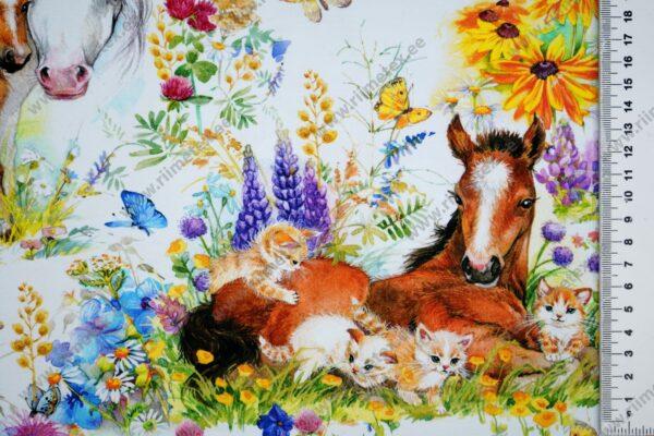 hobused, kassipojad, tibud ja lilled trikotaažkangal