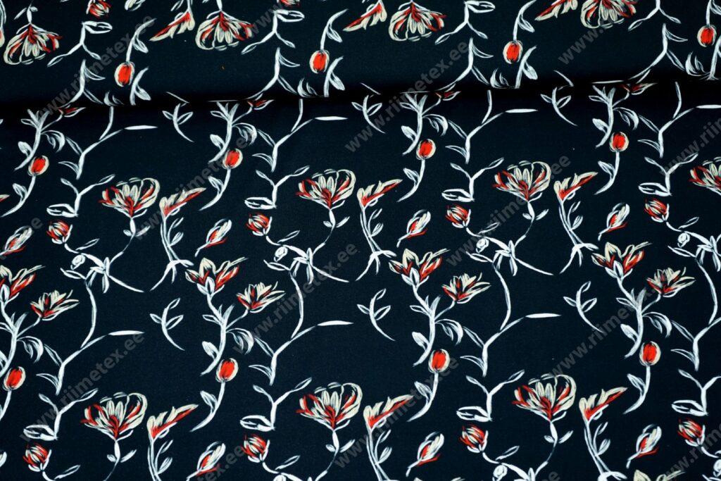 Trikotaažkangas /Single Jersey/ punased lillekontuurid mustal