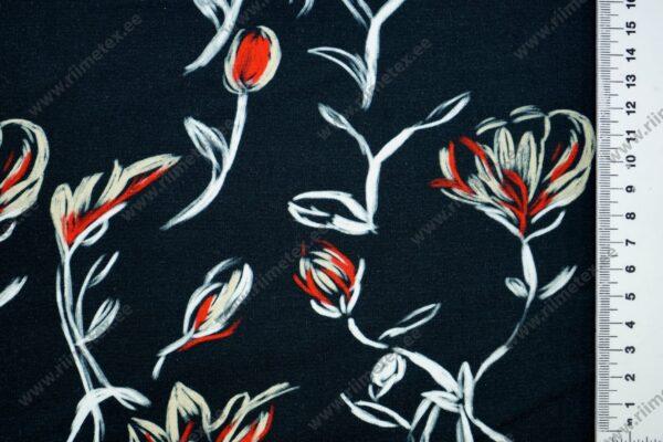 trikotaažkangas single jersey mustal taustal punased lilled