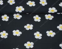 Trikotaažkangas valged lilled mustal, Single Jersey