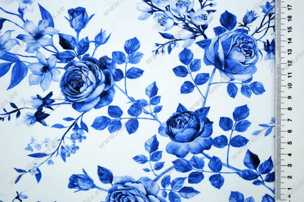 Trikotaaž /Single Jersey/ sinised roosid valgel