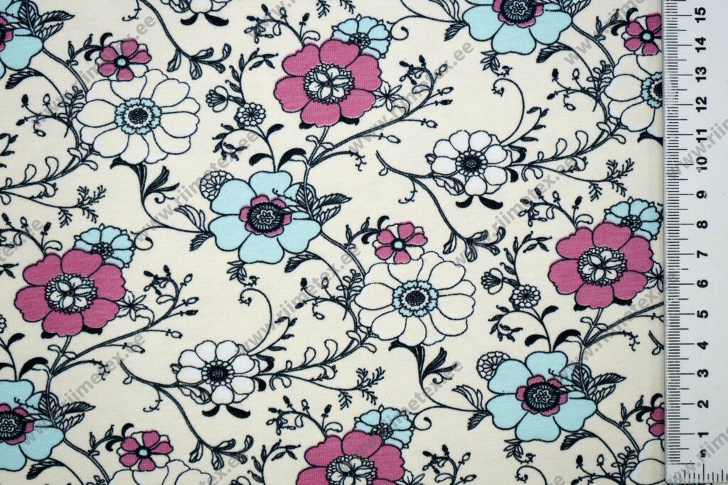 Sinised ja roosad lilled kreemikal, Single Jersey