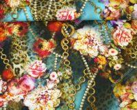 Trikotaažkangas lilled ja ketid türkiissinisel, Single Jersey