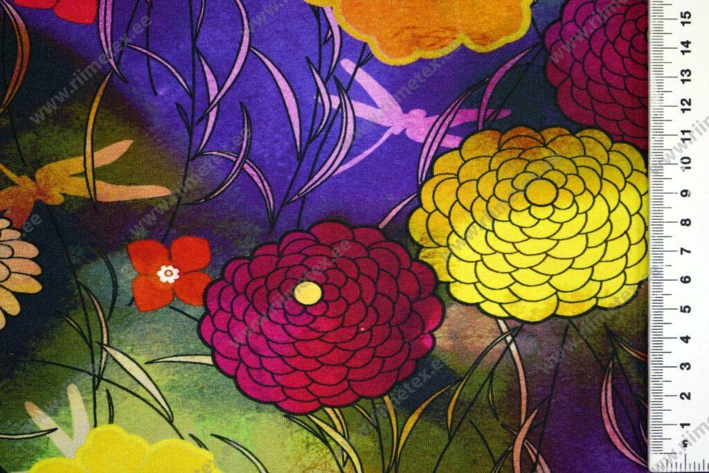 Trikotaažkangas värvilised lilled, Single Jersey