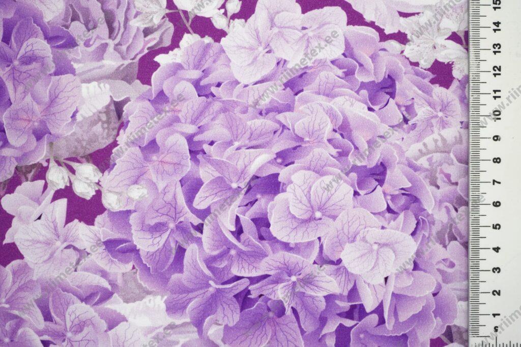 Trikotaažkangas lillad hortensiad ja roosid /Single Jersey/