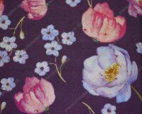 Trikotaažkangas akvarell-lilled lillal, Single Jersey