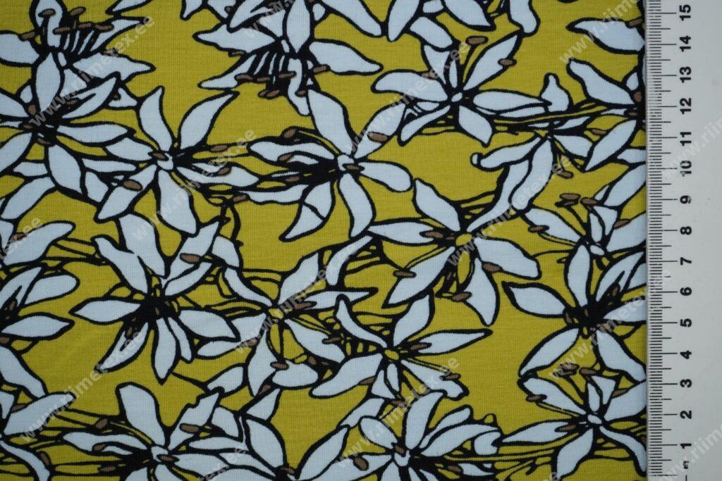 Trikotaažkangas lilled tuhmkollasel, Single Jersey