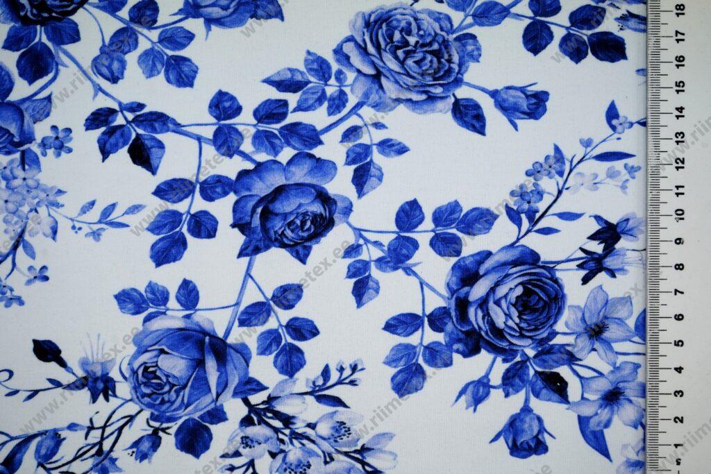 """Dressikangas sinised roosid valgel (""""aasaline"""") / French Terry"""