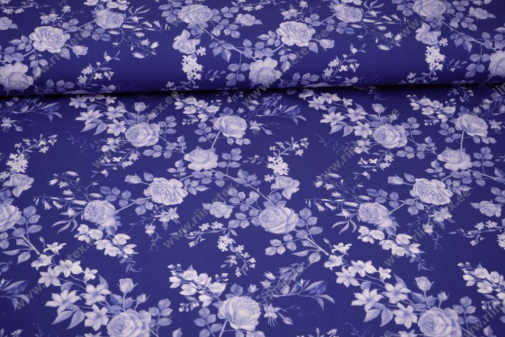 Trikotaaž /Single Jersey/ heledad roosid sinisel