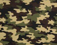 Dressikangas armeemuster khaki French Terry, kergelt seest uhutud