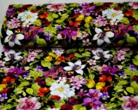 Trikotaažkangas lilled ja liblikad mustal, Single Jersey