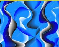 Õhuke veekindel jopekangas suured lained, sinine (softshell-mesh)
