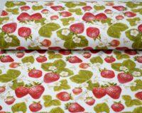 Trikotaažkangas maasikad valgel /Single Jersey/