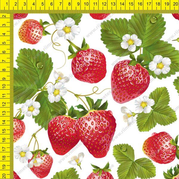 Õhuke veekindel jopekangas maasikad valgel