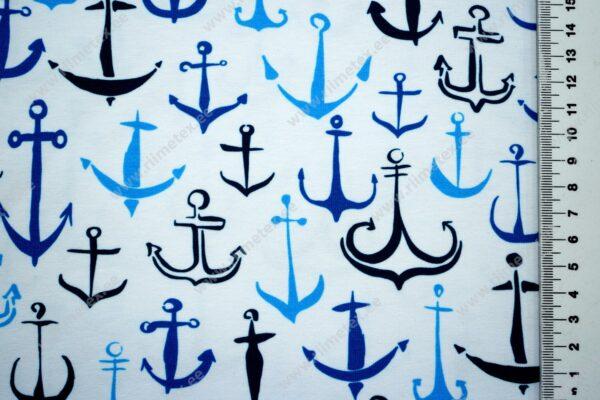 Trikotaažkangas sinised ankrud valgel /Single Jersey/