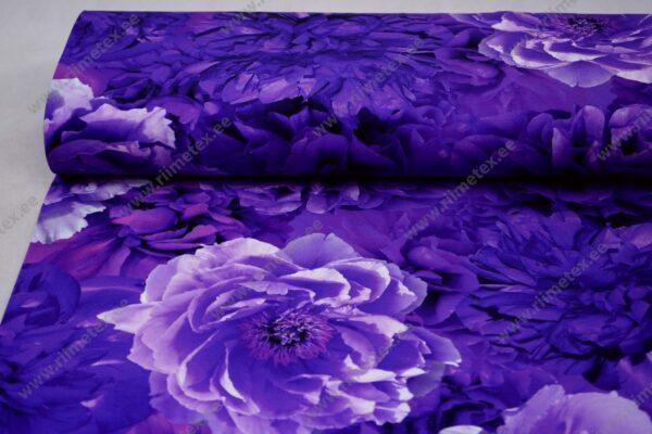 Trikotaažkangas suured pojengiõied - lilla
