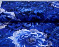 Trikotaažkangas suured pojengiõied - sinine /Single Jersey/