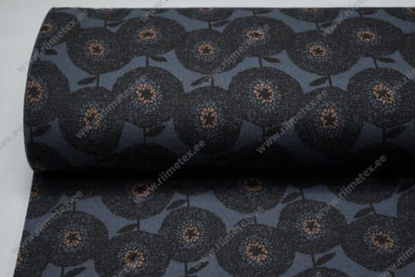 Meriinosegu žakaarkoeline trikotaaž lilled sinine/tellis